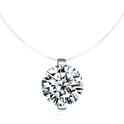 Infinito U - Collares Mujer Niña, Collares Invisible Colgantes de Diamantes, en Plata de Ley 925 Cadena Transparente con Caja de Regalo y Tarjeta de Felicitación 3D
