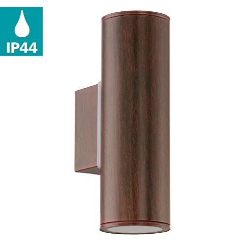 EGLO LED Außen-Wandlampe Riga, 2 flammige Außenleuchte, Wandleuchte aus verzinktem Stahl, Farbe: Antik-Braun, IP44