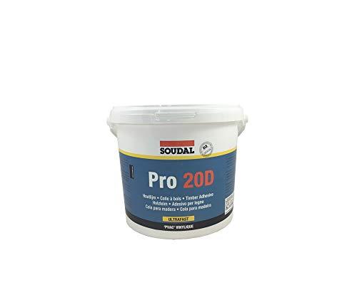 Soudal Holzleim PRO 20 D, wasserfester Dispersionskleber auf PVAc- Dispersions-Basis, weiss, Kanne: 5kg