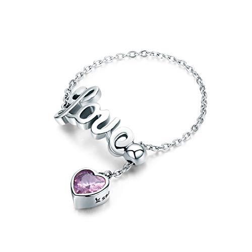 Miłość oświadczenie obrączki ślubne srebro różowe kryształowe regulowane frędzle łańcuszek pierścionek dla kobiet dziewcząt