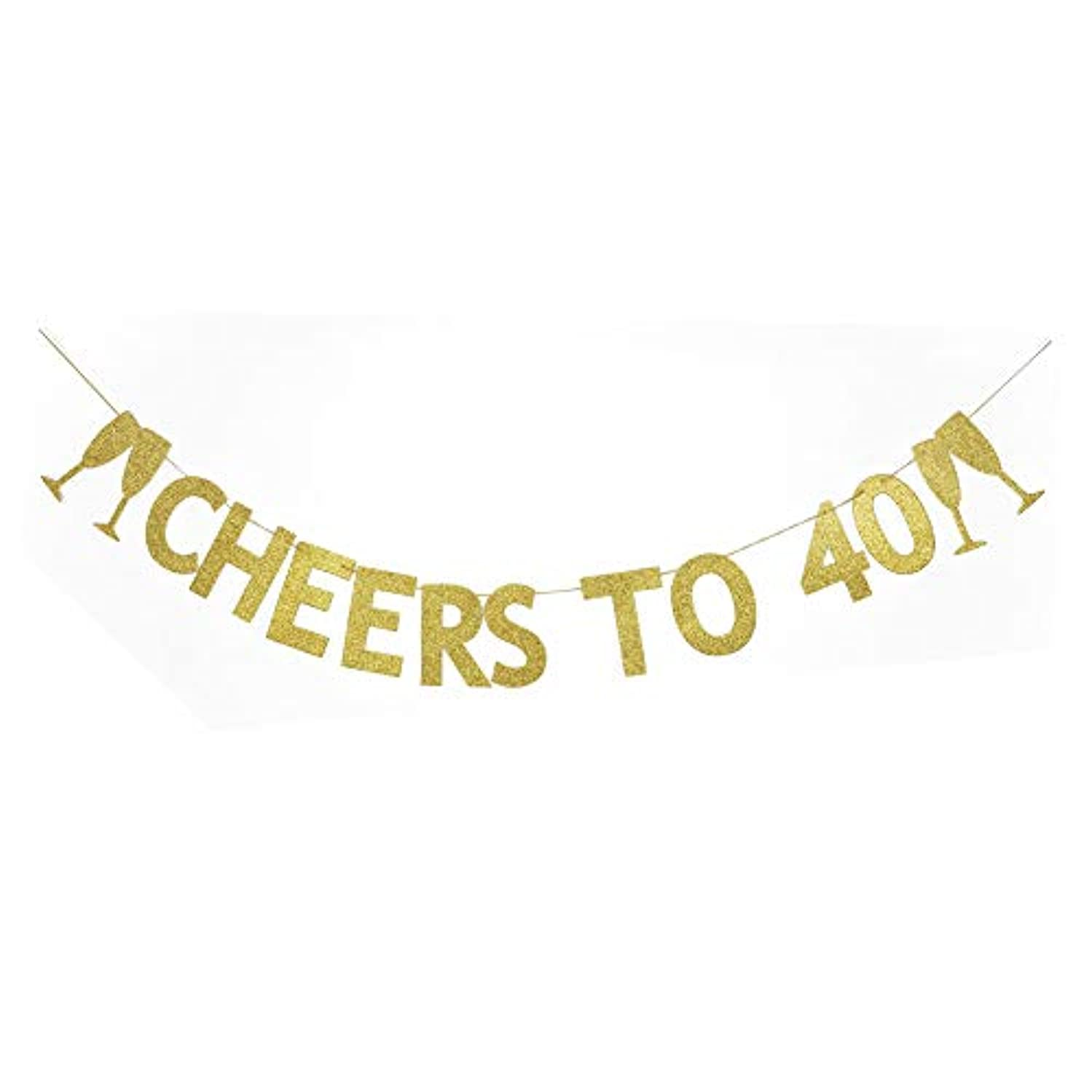 Cheers to 40 Banner, The 40th Birthday Party Decoration Gold Gliter Paper Signs