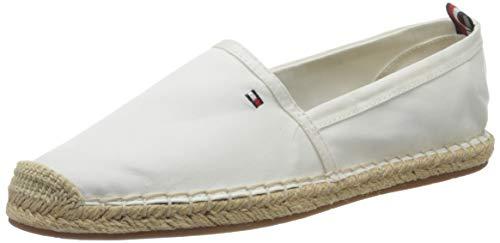 Tommy Hilfiger Basic Tommy Flat Espadrille, Zapatos de tacón con Punta Abierta para Mujer, Blanco (Ivory Ybi), 41 EU