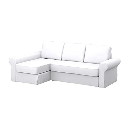Soferia - IKEA BACKABRO Funda para sofá con chaiselongue, Eco Leather White