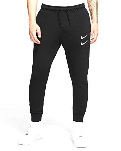 Nike Herren M NSW Swoosh Pant FT Sport Trousers, Black/(White), L