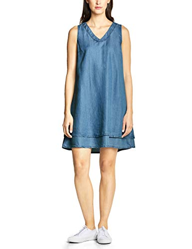 Street One Damen 142408 Kleid, Blau (Indigo Blue Tencel wash), 46