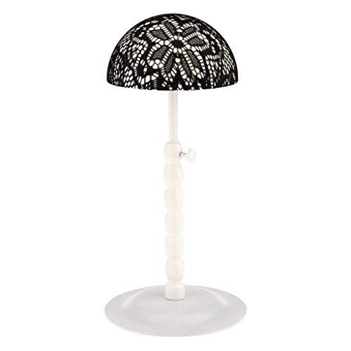 Backbayia Huthalter mit Spitze, verstellbar, für Hüte, Vitrine, Regal für Perücken Schwarz