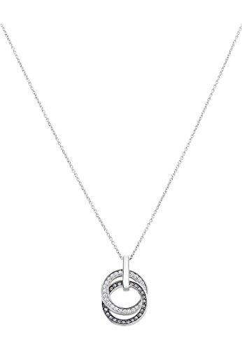 JETTE Silver Damen-Kette 925er Silber 25 Swarovski Kristalle One Size Silber/schwarz 32001551
