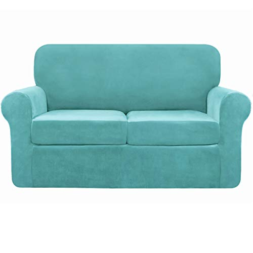 subrtex 2-Seater Stretch Velvet Couch Sofa Cover with Separate Cushion Soft Sofa Slipcover with Non Slip Straps for Modern Plush Furniture Protector(2 Seaters, Blue Velvet)