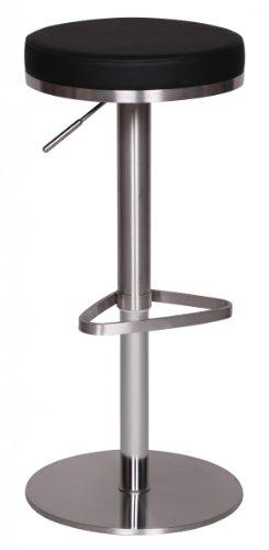 KadimaDesign Durable M7 - Taburete de Bar (Acero Inoxidable, Altura Regulable de 57-82 cm, diámetro de 36 cm), Color Negro