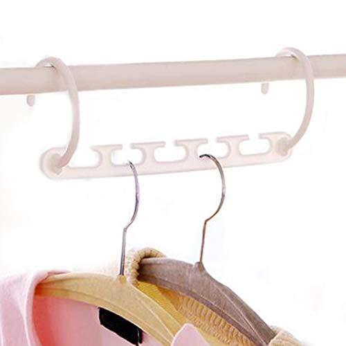 MEILUAIMU Kunststoff-Kleiderbügel Multifunktionale Acht-in-Eins-Garderobe rutschfeste, zusammenklappbare magische Kleiderbügel Fünf Löcher und acht Teile