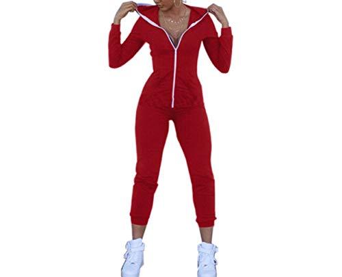 LANGPIAOEZU Ropa de Verano de Las Mujeres Sólidos Pantalones del Pedazo del Color Cremallera Estanca Top V-Cuello de Gran tamaño (Color : Red, Size : L)