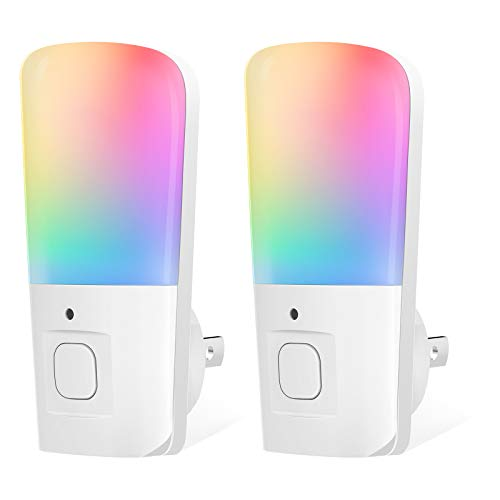 LOHAS Night Light for Kids Plug in Night Light with RGB Color Changing Mode Dimmable LED Night Light with Dusk to Dawn Sensor Soft White Nightlights for Hallway Stairway Bedroom 2 Pack
