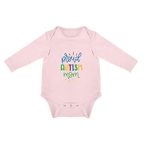 DKISEE - Body de Manga Larga para bebé con Autismo para mamá y niña, de algodón Suave, de Manga Larga, Divertido, Triangular, para bebé, 5 Colores Disponibles, 0 – 24 Meses Rosa Rosa 2 Mes