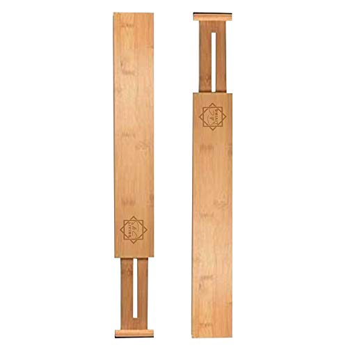 SCL, Set of 2 – BEST Bamboo drawer dividers - Adjustable & Expandable, separators (17-22 IN) – Ideal for organizing Kitchen, Bedroom, Bathroom, Baby Drawer, Dresser & Office.