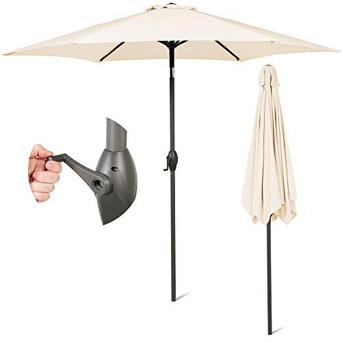 SUNMER 2.7M Ivory Parasol Garden Umbrella Sun Shading | Polyester 180 g/m² (UV 30+)| Crank Mechanism | Pole Width ø 38 mm (Excl. Base)