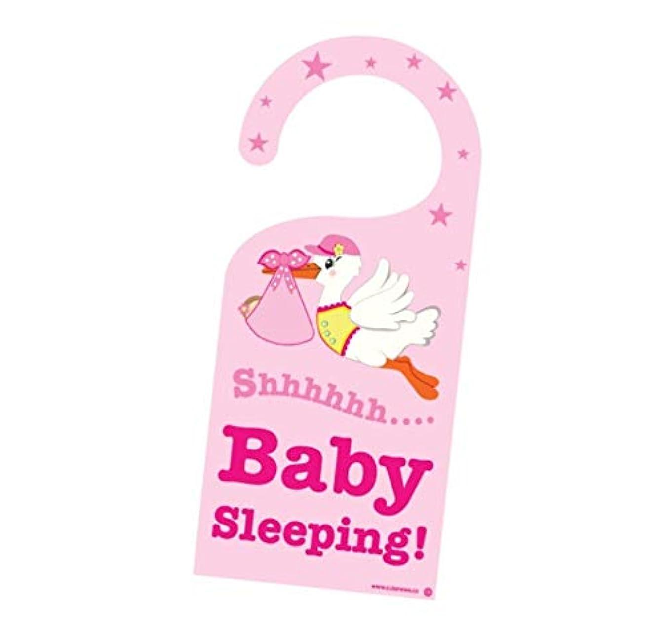 Cute News Baby Girl is Sleeping Door Hanger - Do Not Disturb or Knock - Great Gift for Parents - Pink