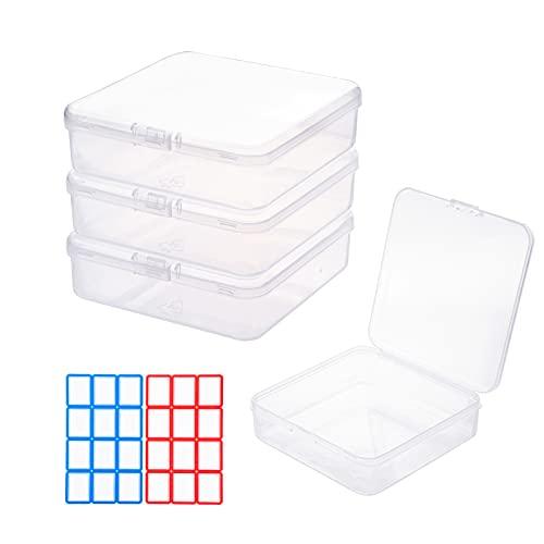 4 cajas de almacenamiento de 10,5 cm, con tapa, organizador de escritorio, cajas de almacenamiento para oficina, cocina, casa, contenedor para el sistema de organización, plástico transparente