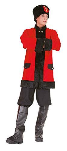 O7038-54-56 schwarz-rot Herren Kosaken Kostüm Jacke-Hose-Mütze Gr.54-56