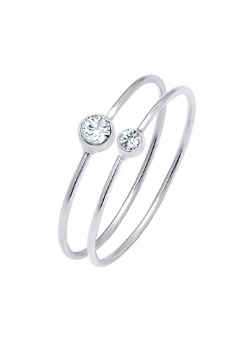 Elli Ring Damen Set mit Swarovski Kristallen in 925 Sterling Silber
