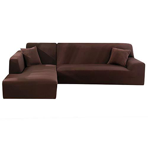 Enjoygoeu Copridivano con Penisola Elasticizzato a Forma di L Chaise Longue Sofa Cover Angolare Componibile Divano in Poliestere è Composto da 2 Pezzi,e con 2 Federe (caffè, 3 posti + 2 posti)