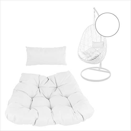 Kideo® Sitzkissen für Hängesessel, Swing Chair Kissen, Ersatzkissen, Wechselkissen, 2-teilig, weiß, einfarbig (Chester-Stepp, 1000 Snow)