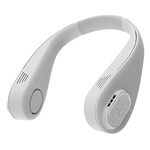 LVLUOKJ Ventilador de Cuello Colgante,Ventiladores sin Aspas Manos Libres,Ventilador Cuello Recargable USB con 3 Velocidades, Ventilador Portatil para Oficina/Viajes/Camping (Color : White)