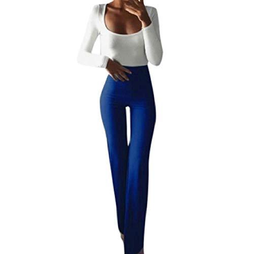 Las mujeres de la moda de la elasticidad sólida polainas Bell-Bottoms Pantalones de cintura alta llamarada pierna ancha Chic pantalones Slim Pantalones largos
