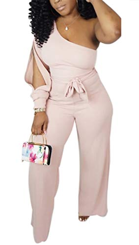 Aro Lora Women's Sexy One Shoulder Slit Sleeve High Waist One Piece Pant Outfit Wide Leg Jumpsuit Romper Large Pink