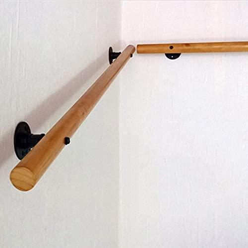 Sysyrqcer Banister Rails con Soportes - Kit Completo - Postes de Madera Redondos para Ancianos y discapacitados pasamanos de Escalera de Interior (Size : 250 cm)