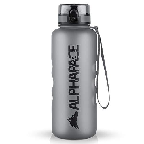 ALPHAPACE Trinkflasche, auslaufsichere 1.500 ml Wasserflasche, BPA-freie Flasche für Sport, Fahrrad & Outdooraktivitäten, Sportflasche mit Fruchteinsatz, in Grau