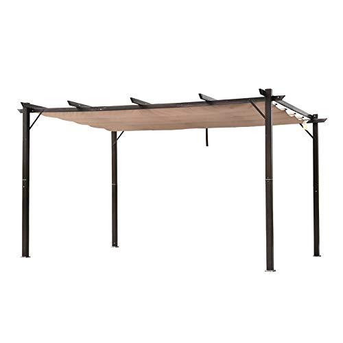 Outsunny 10' x 13' Aluminum Retractable Pergola with Canopy Outdoor Gazebo for Backyard