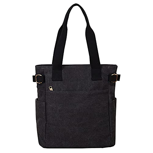 Women's Canvas Book Tote Bag with Pockets Zipper for Library School Work Small Handbag