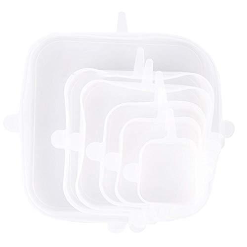 TENKY Lids de estiramiento de silicona 6PACK, gel de sílice Cubiertas de almacenamiento de alimentos durables reutilizables, para refrigerador de cocina cubierta de fresco multifuncional, cuadrado