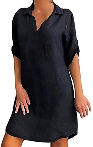 LYDIANZI Dames Plus Size Beach Sundress Effen Kleur Mini Rok Katoen Linnen Turn Down Collar Party Ball Jurk Losse Shirt Jurk(Size:Klein,Color:Zwart)