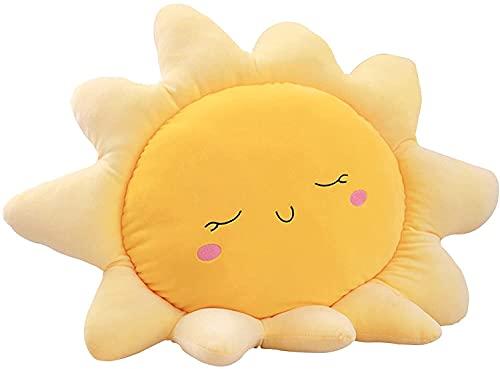 Almohada de felpa en forma de nube de sol suave para dormir, cojín para el suelo, cojín para asiento de cojín de peluche para la cama de la muñeca del sol (amarillo, 30 cm)