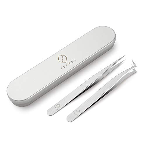 FERYES Lash Extension Tweezers - 2pcs Straight and Curved Pointed Eyelash Extension Tweezers Professional Set for 3D 5D Individual Mink Eyelash Extensions