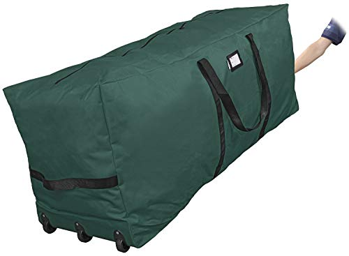 """Primode Rolling Tree Storage Bag, Fits Up to 9 ft. Disassembled Holiday Tree, 25"""" Height X 20"""" Wide X 60"""" Long, Extra Large Heavy Duty Storage Container with Wheels and Handles (Green)"""
