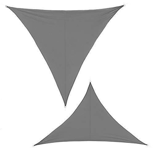 BB Sport Sonnensegel 3.5m x 3.5m x 4.95 m Granit Dreieckig Sonnenschutz 100% PES Sichtschutz Windschutz Tarp UV Schutz Garten Terrasse Camping Schattenspender