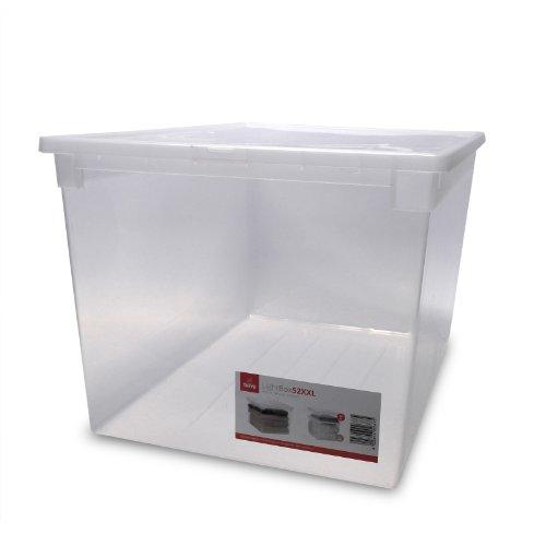 XXL Aufbewahrungsbox mit Deckel aus transparentem Kunststoff und XXL Stauvolumen! Maße: 37,6 x 52 x 31 cm , Volumen 48 Liter