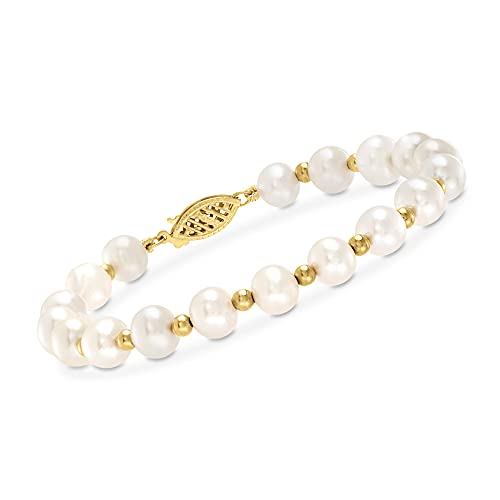 Ross-Simons 6-7mm Cultured Pearl Bracelet With 14kt Yellow Gold. 7 inches