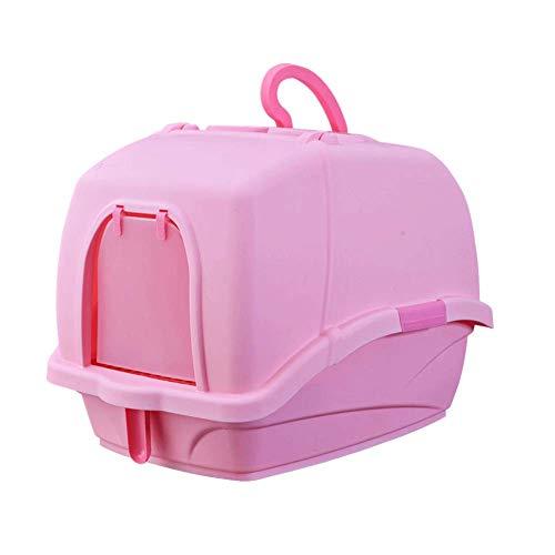 GBY Kattenbak, oversized volledig ingesloten spatwaterdichte deodorant kattenwc-pot, geschikt voor katten onder 10kg, 58 * 42 * 44cm, size, roze