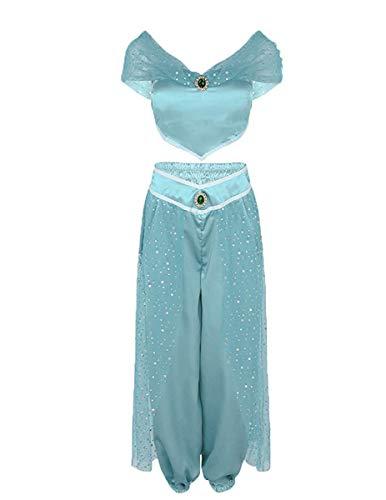 WangsCanis Mädchen Damen Phantasie Pailletten Kostüm Party Prinzessin Halloween Carnival Cosplay Kostüm Sets (S, Hellblau)