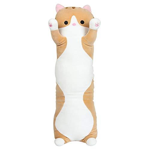unlockgift Cute Large Long Cat Stuffed Animal Toy Plush Cat Pillow Hug Pillow Body Pillow (Brown, 27.5inch)