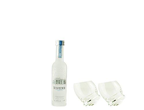 Geschenkidee Belvedere Minis | Belvedere Mini + 2 extravagante, handgefertigte Gläser | Polnischer Wodka | 0,05 Liter