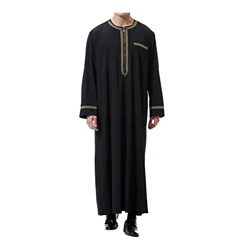Xinvivion Musulmn Hombres Robes - Manga Larga Islmico Medio Oriente Dubai Thobe Arabia Saudita tnico Dishdasha Kaftan Kandoura