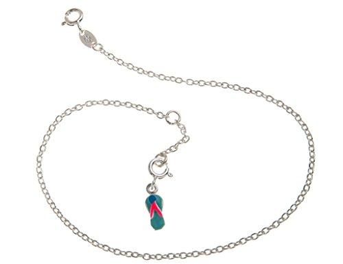 Fußkette Silber (Erbskette) mit kleinem Flip Flop Anhänger blau - 2mm Breite, Länge 30cm - echt 925 Silber