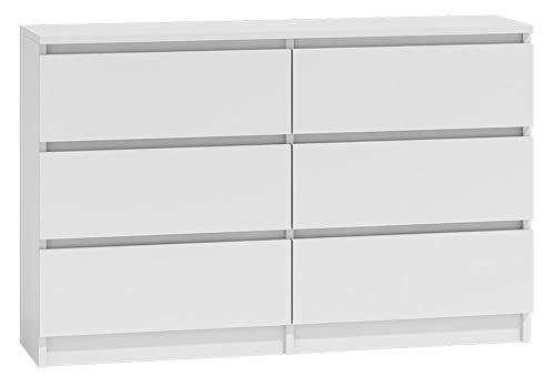 Shumee Schrank 120 cm M6 6 Schubladen Kommode Großraum Modern Weiß