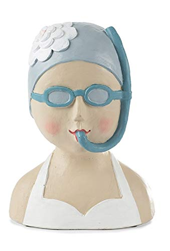 Baden Aufsteller Deko Kopf Frauenkopf Ladykopf mit Schnorchel - Frau Figur Skulptur - Material: Gips Höhe: 25 cm Gewicht: 1600 g
