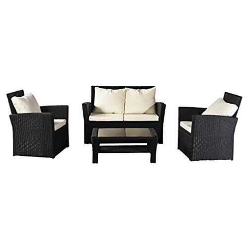 yangdan Q 4 piezas al aire libre muebles de patio, juego de bistro, juego de conversación de mimbre para cubierta de porche, silla de sofá de ratán negro con cojín