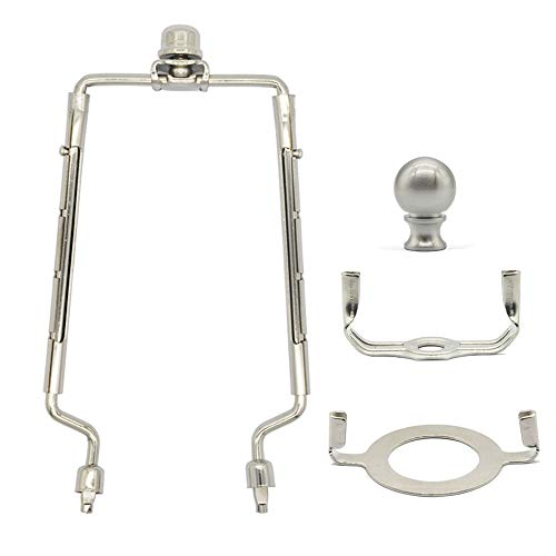 7 8 9 10 inch Lamp Shade Harp Holder,Adjustable Lamp Harp Set Fits E26 Light Base UNO Fitter Adapter and Saddle Base,with 2 Shade Attaching Finial Top,Silver Lampshade Harp Kit